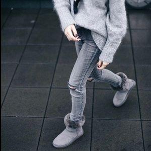 AIRWALK girls boots SIZE 5Y ankle grey fur NWT